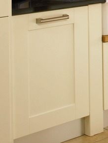 Close up of Shaker Cologne kitchen doors in Hornschurch Ivory