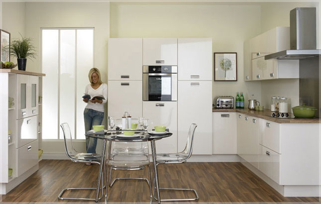 Duleek High Gloss Ivory Kitchen Cabinet Doors