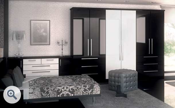 High Gloss Black and High Gloss White bedroom picture
