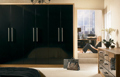 Premier Duleek bedroom in High Gloss Black finish