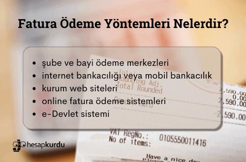Komisyonsuz Fatura Ödeme Yöntemleri İnfografik