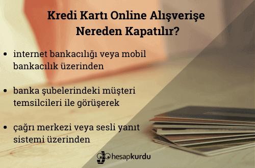 Kredi Kartı Online Alışverişe Nasıl Kapatılır İnfografik?