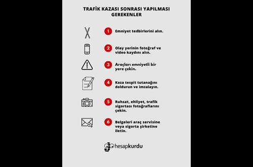 Trafik Kazası Sonrası Yapılması Gerekenler İnfografik