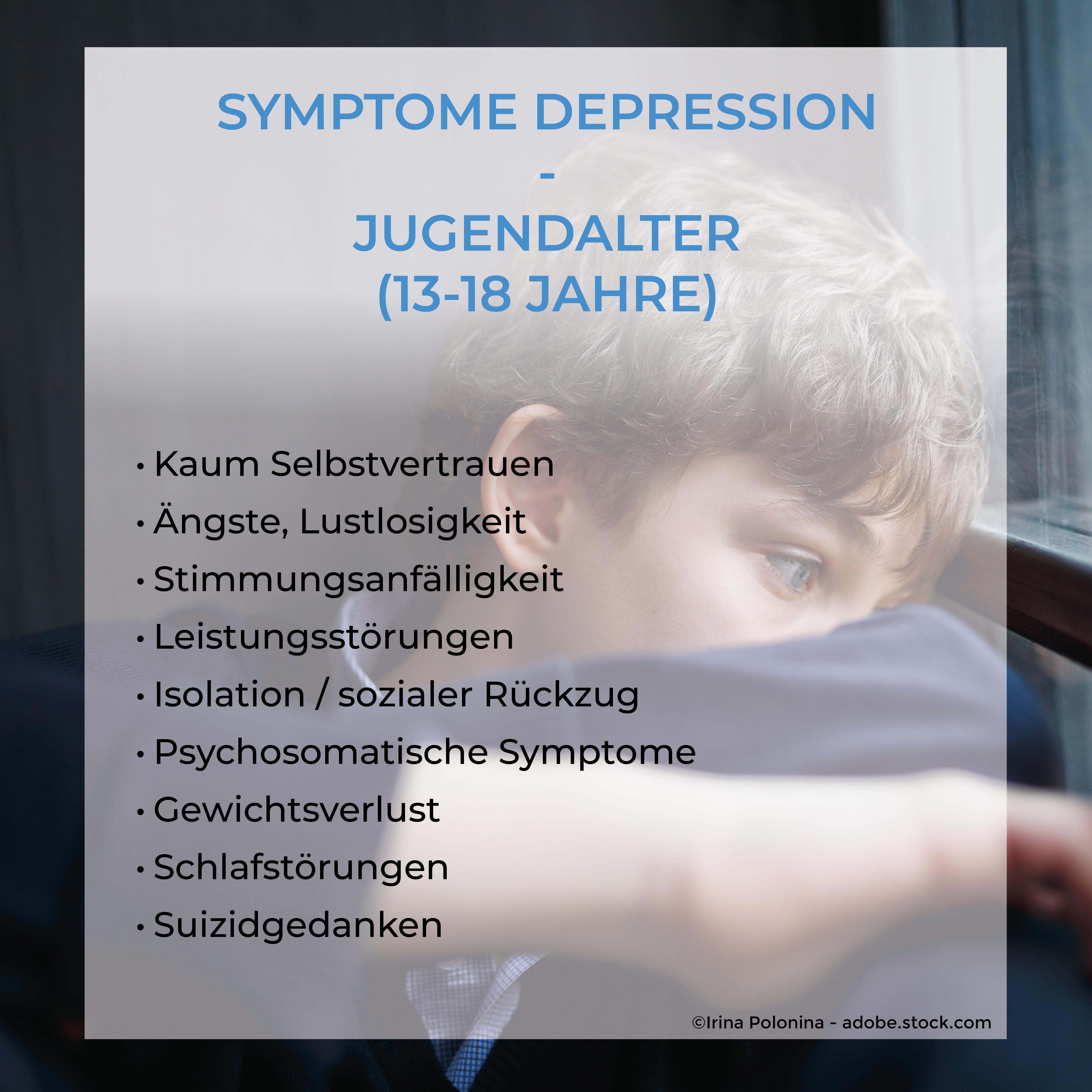Jugendalter Symptome Depression