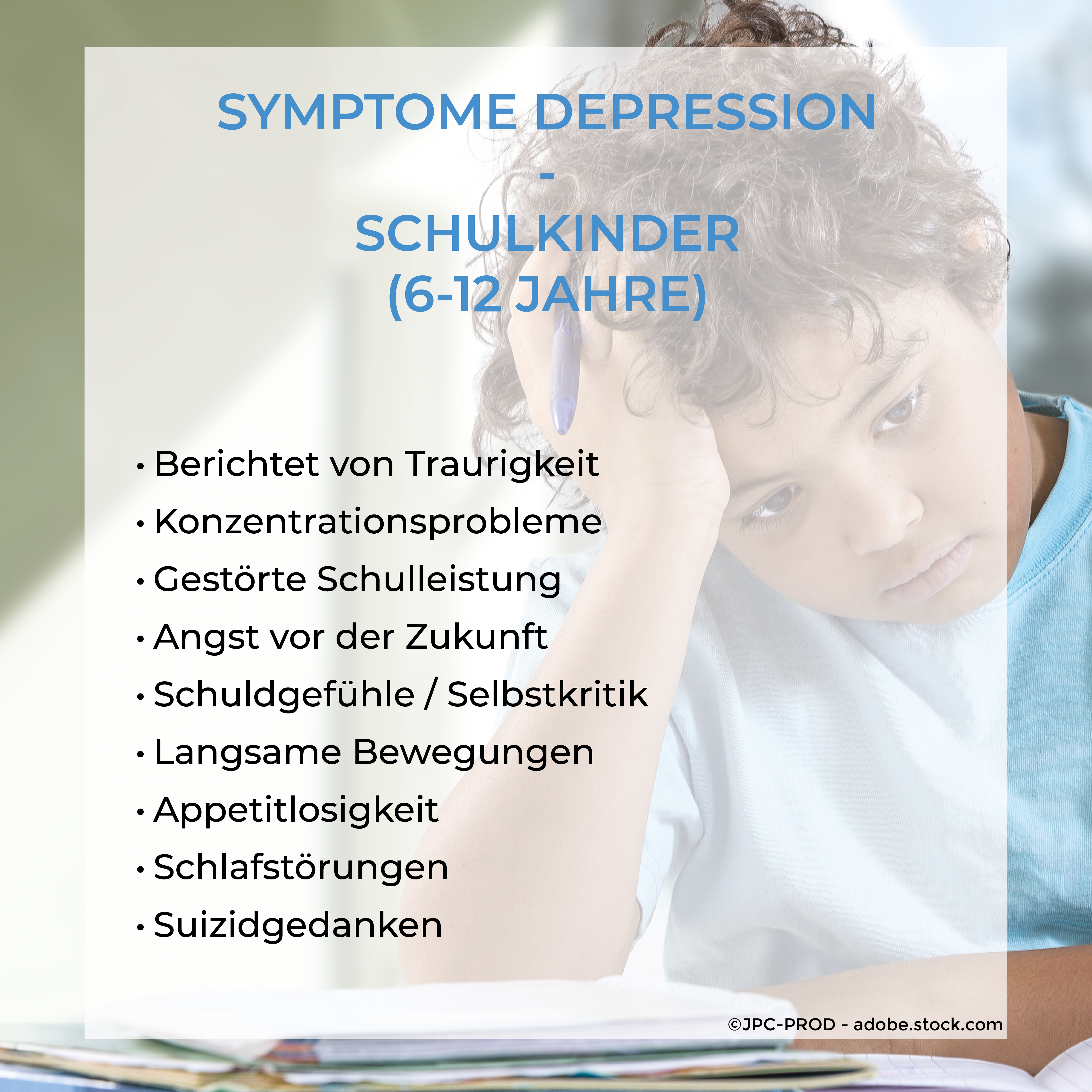 Schulkinder Symptome Depression