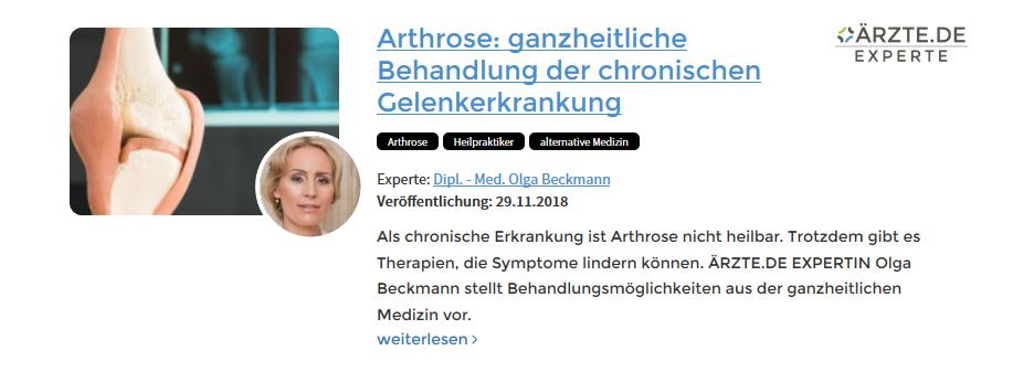 Expertenbeitrag Olga Beckmann Arthrose