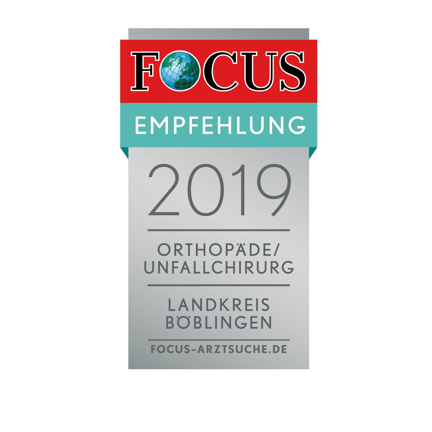 Dr. Ivo Breitenbacher Regionalsiegel Focus Empfehlung Orthopäde/Unfallchirurg Landkreis Böblingen