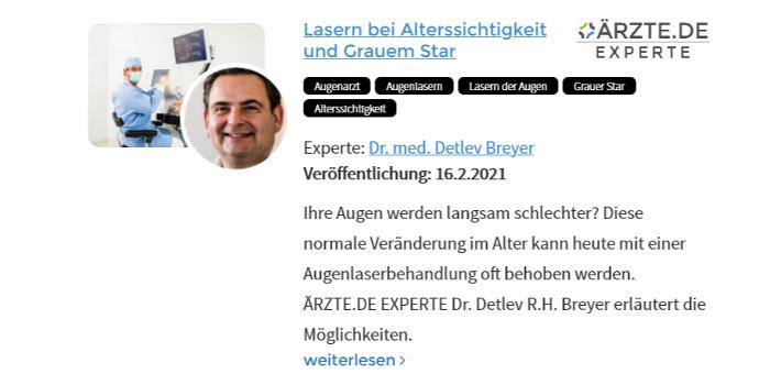 Beitrag Dr. Breyer zum Augenlasern bei Alterssichtgkeit und Grauem Star
