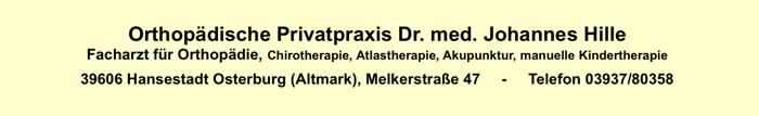 Kontaktdaten Dr. Johannes Hille Orthopäde in Osterburg