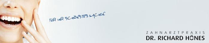 Banner lächelndes Gesicht Zahnarztpraxis Richard Hönes