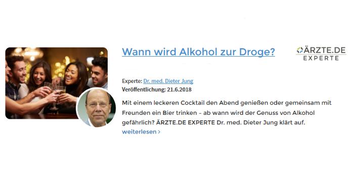 Dr. Dieter Jung Expertenebeitrag Wann wird Alkohol zur Droge