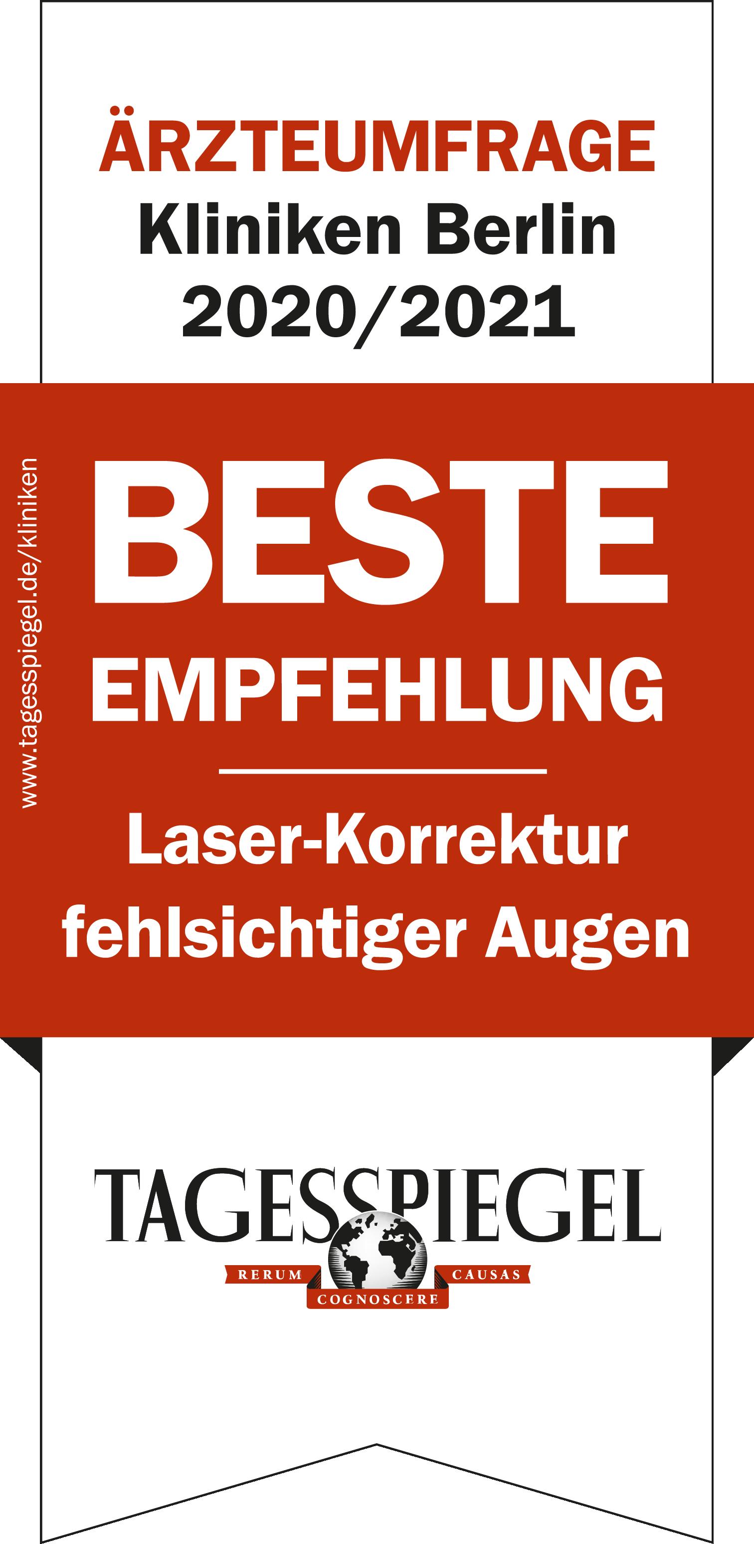 Auszeichnung Tagesspiegel Augenklinik am Wittenbergplatz Berlin