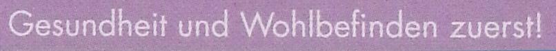 Gesundheit und Wohlbefinden zuerst! Schriftzug auf lila Grund