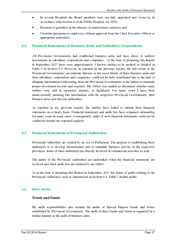 Report of the Auditor-General Part III 2016 on the Accounts