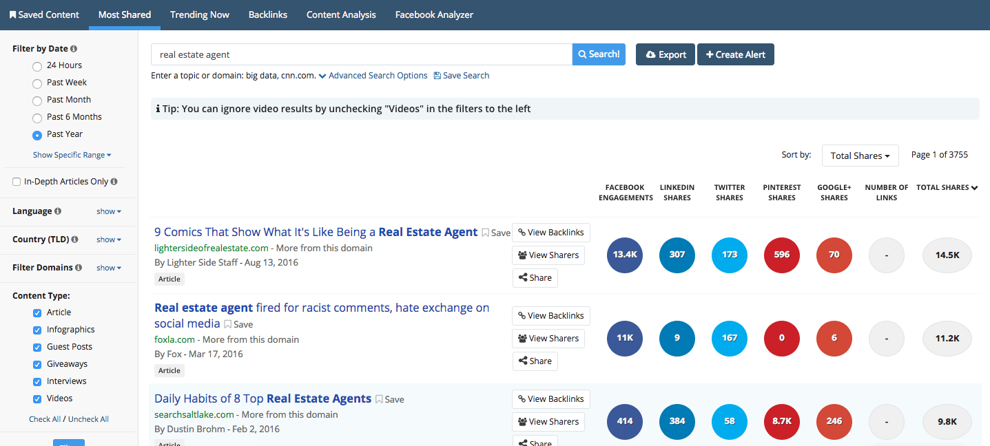 Buzzsumo marketing tool for Real Estate