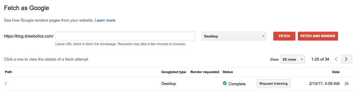 Fetch a page as google on google search console