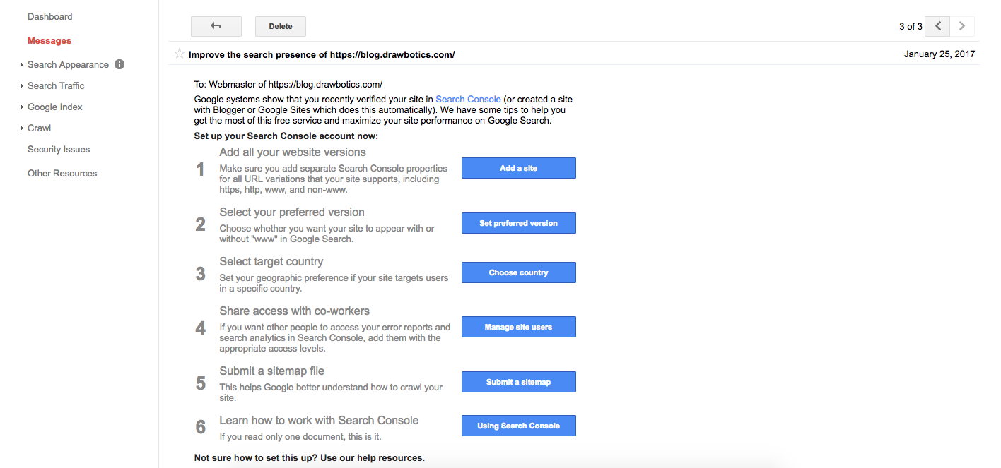 Google Search Console suggestion e-mail