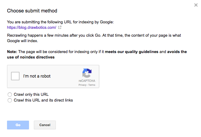 request the indexing of a page on google search console