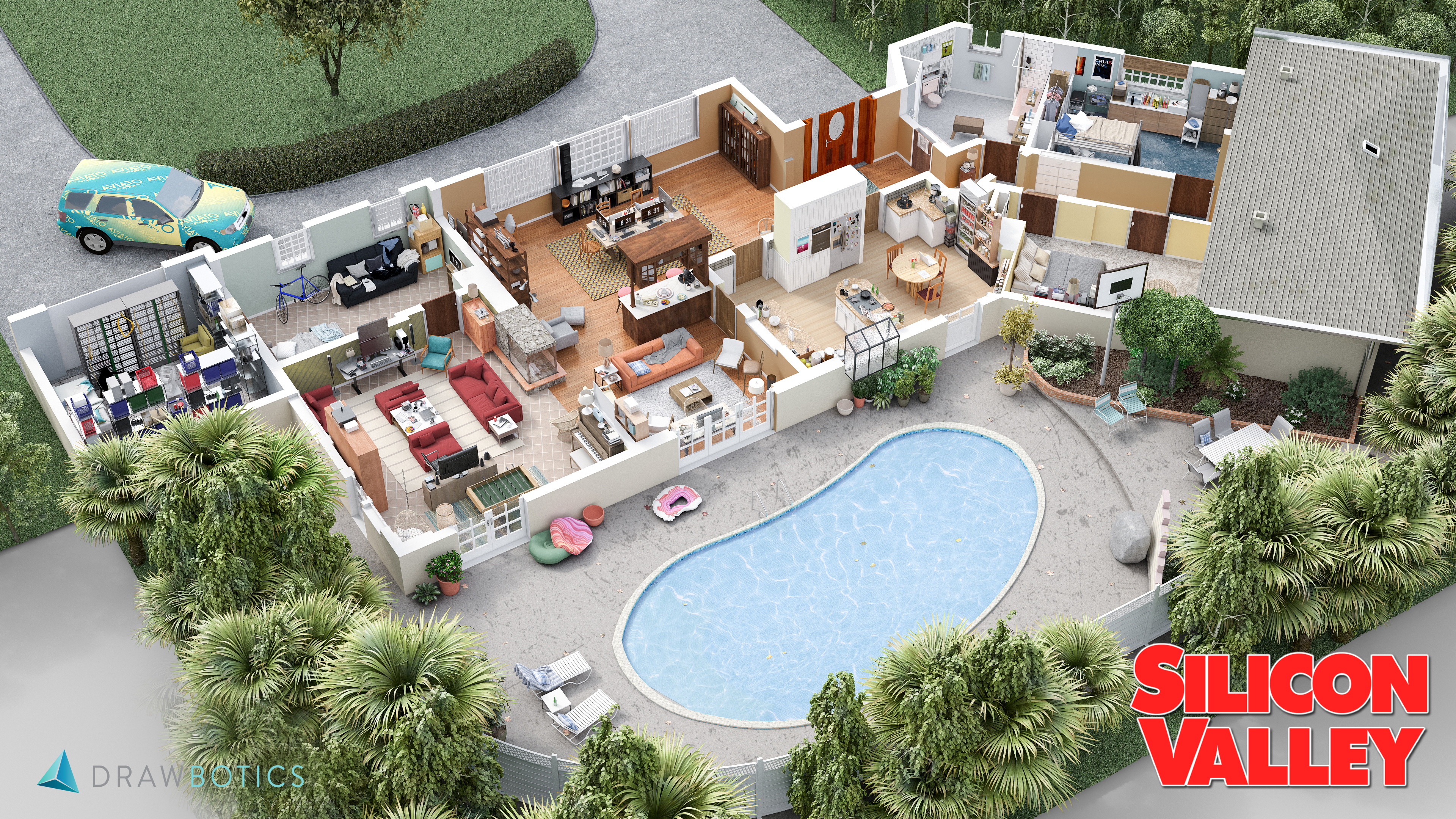 Garage Floor Plans With Apartments Famous Tv Shows Brought To Life With 3d Plans Drawbotics