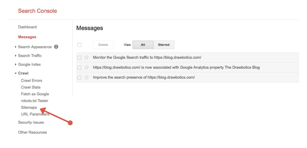 Submit a sitemap on google search console