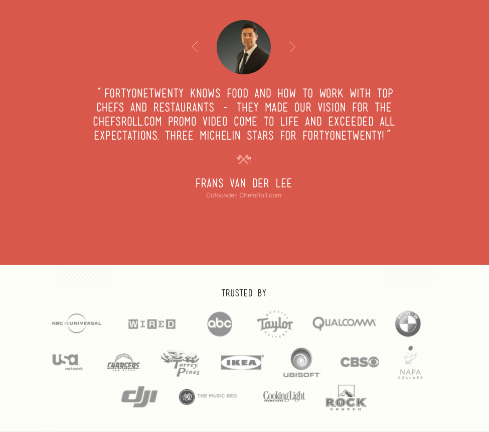 4120's 'About' page includes clients' testimonials
