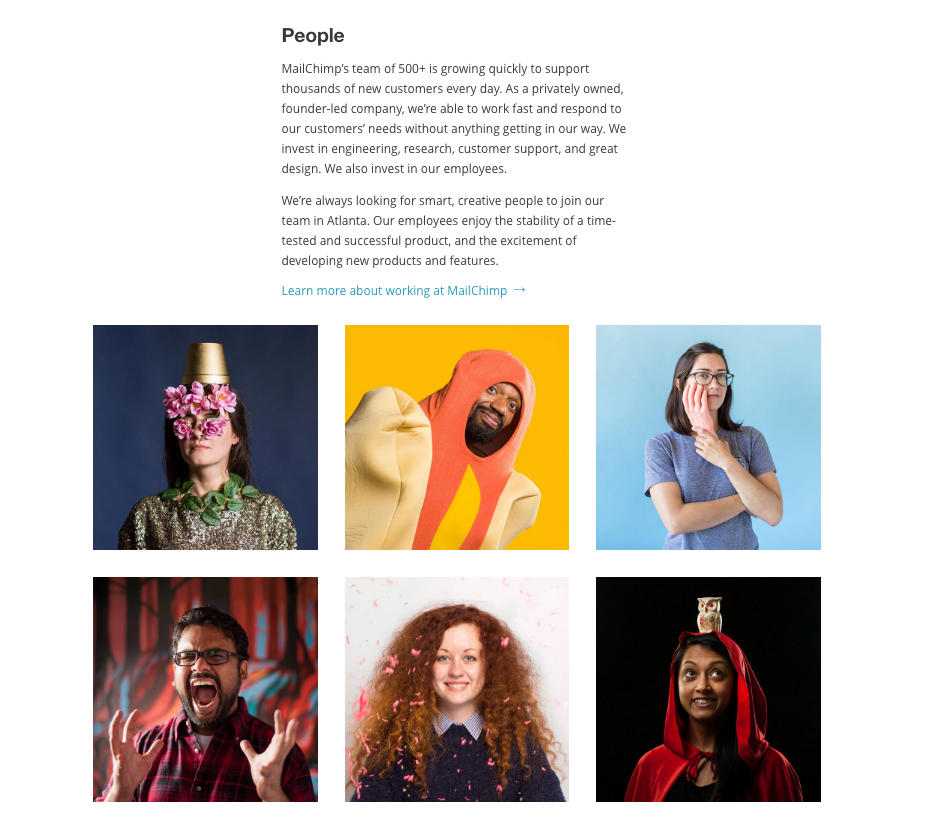 Include photos of your team: MailChimp do this really well