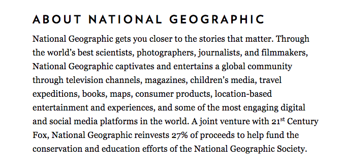 Make it about them: National Geographic's 'About' section