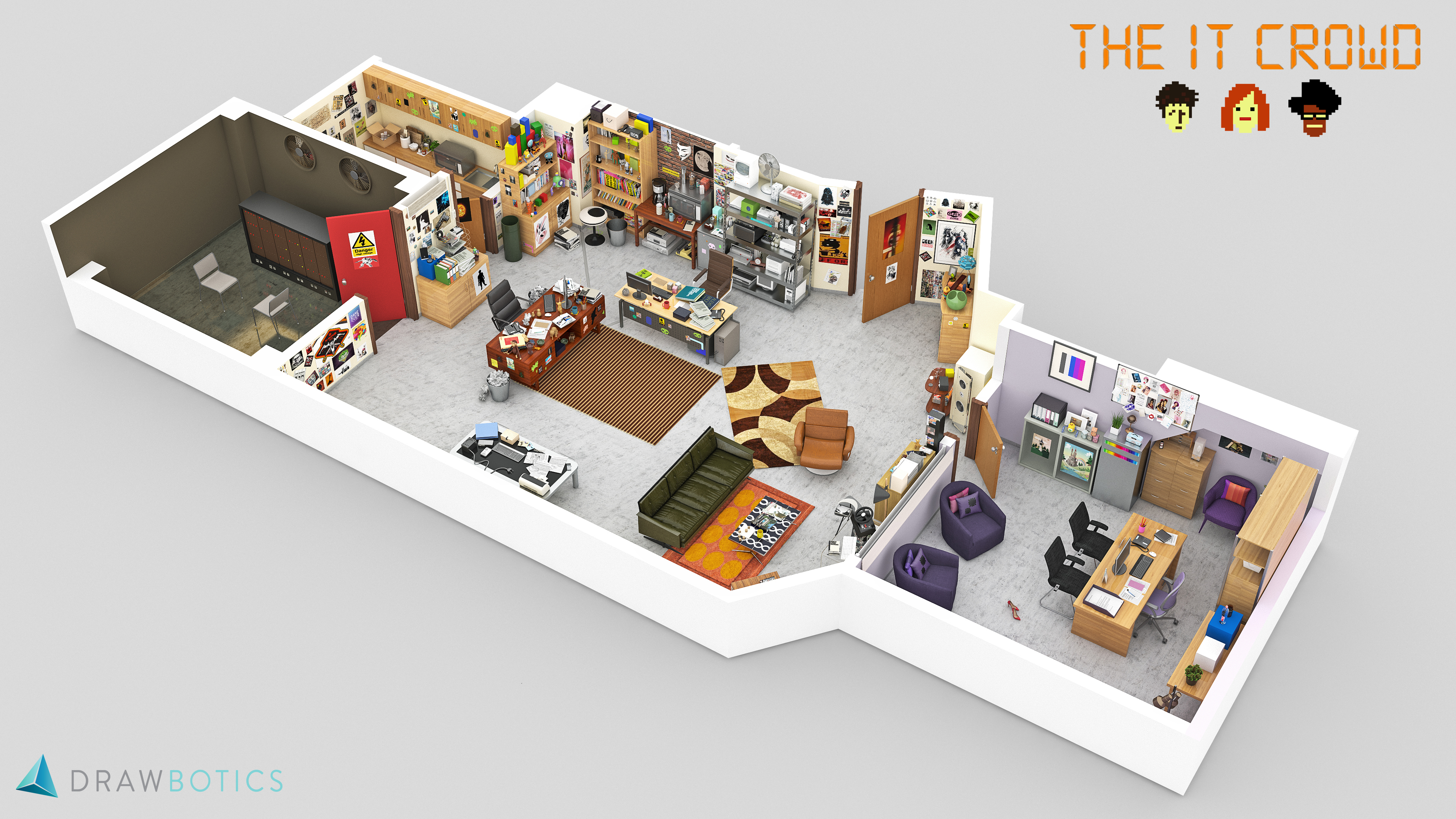 The office floor plan Law Firm Office 6 The It Crowd The Drawbotics Blog Famous Tv Shows Brought To Life With 3d Plans Drawbotics