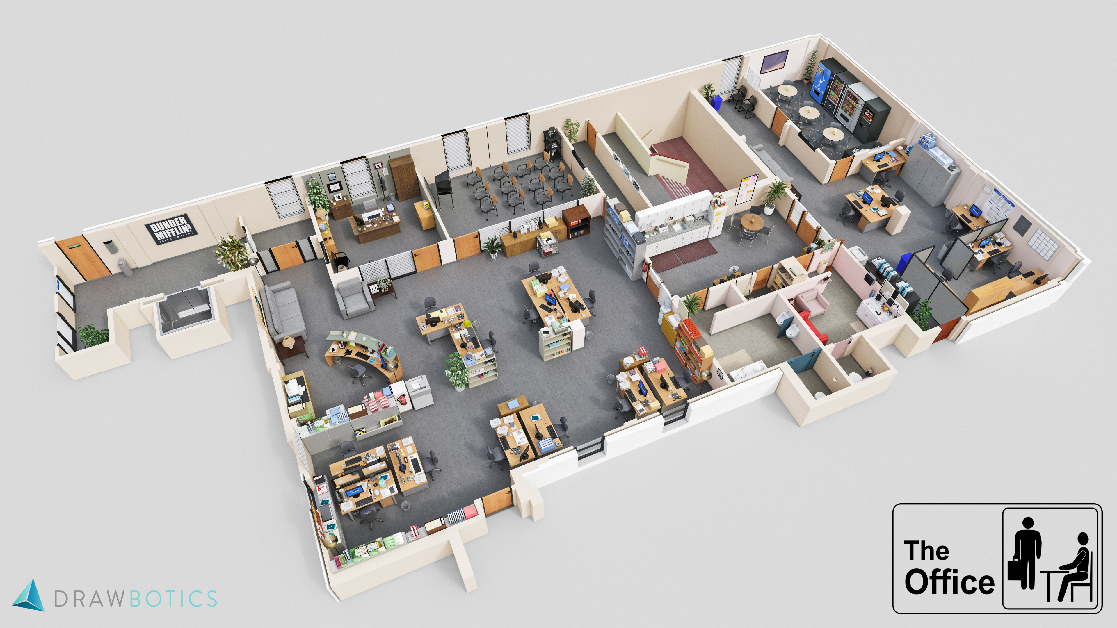 Famous tv shows brought to life with 3d plans drawbotics for Office plan design
