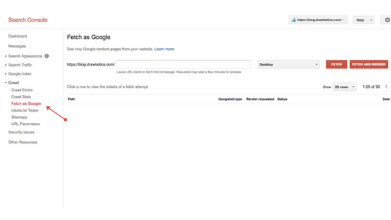 Fetch as google on Google search Console