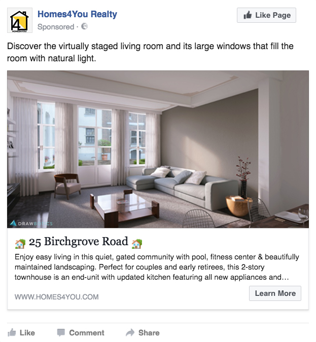 single image ad with virtual home staging