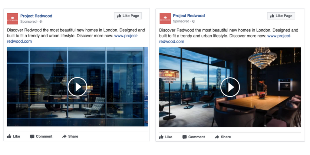 Facebook single video ad examples