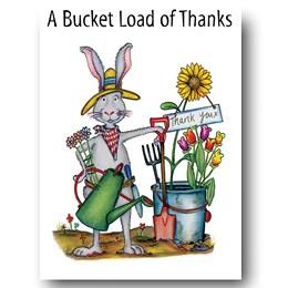 Rabbit Bucket Greeting Card