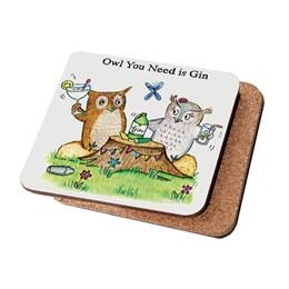 Owl Gin Coaster