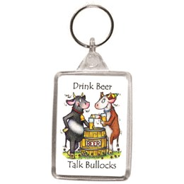 Drink Beer Talk Bullocks Key Ring