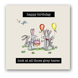 Grey Hares Embellishment Card