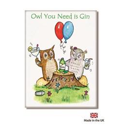 Owl Gin Fridge Magnet