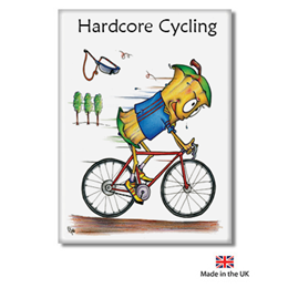Hard Core Cycling Fridge Magnet