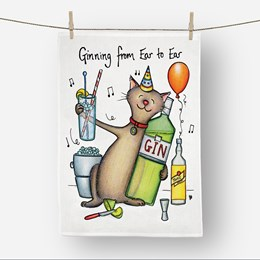 Ear to Ear Tea Towel