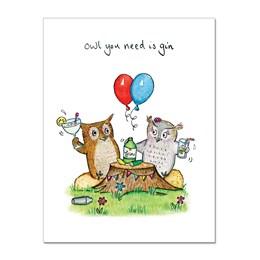 Owl Gin Greeting Card