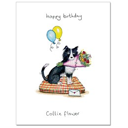 Collie Flower Greeting Card