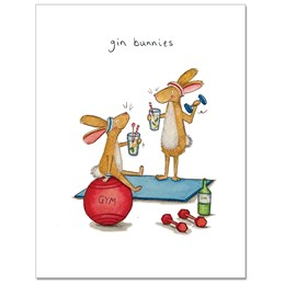 Gin Bunnies Greeting Card