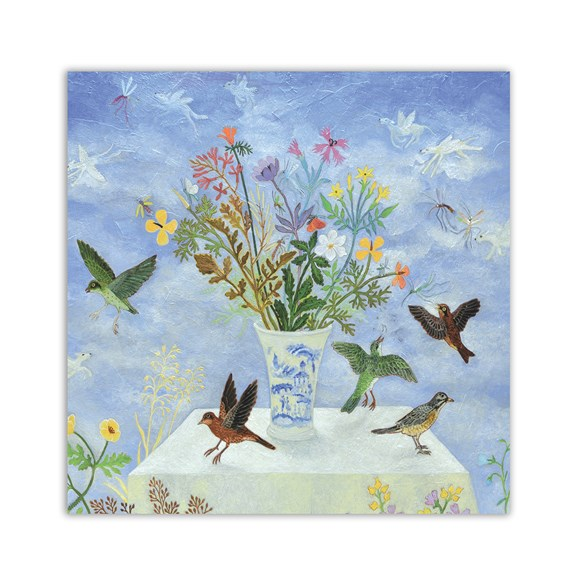 Table of Birds Greeting Cards