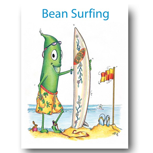 Bean Surfing Greeting Card