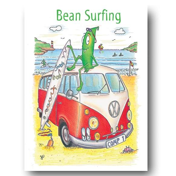 Bean Surfing (Van) Greeting Card