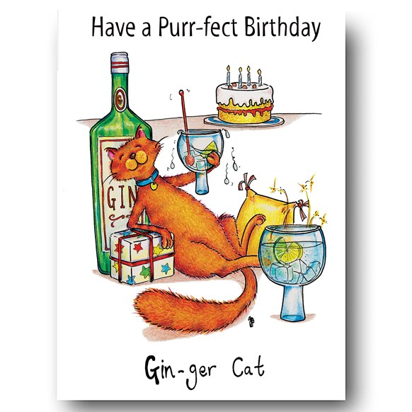 Gin-ger Cat Greeting Card