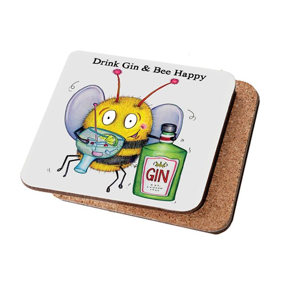 Drink Gin Bee Happy Coaster