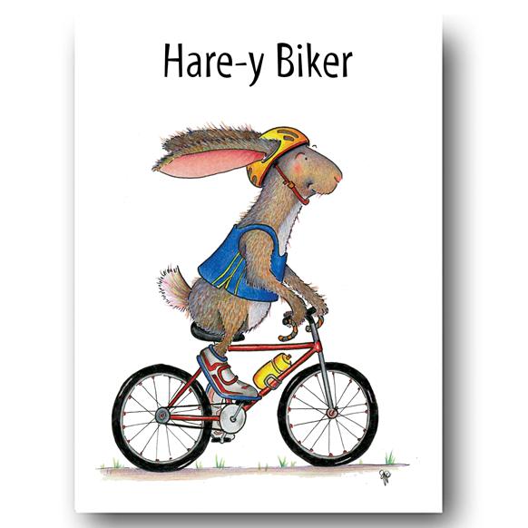 Hare-y Biker Greeting Card