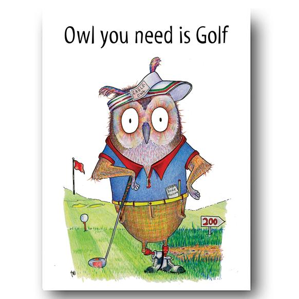 Owl Golf Greeting Card