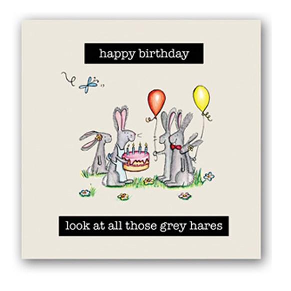 Grey Hares Embellishment Card